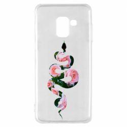 Чохол для Samsung A8 2018 Snake and roses