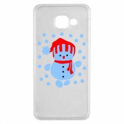Чехол для Samsung A3 2016 Снеговик в шапке - FatLine