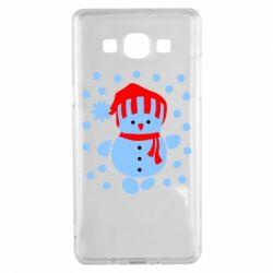 Чехол для Samsung A5 2015 Снеговик в шапке - FatLine