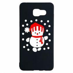 Чехол для Samsung A5 2016 Снеговик в шапке - FatLine