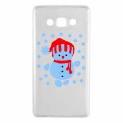 Чехол для Samsung A7 2015 Снеговик в шапке - FatLine