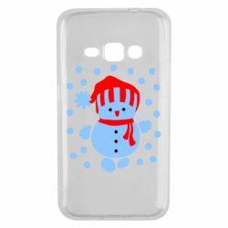 Чехол для Samsung J1 2016 Снеговик в шапке - FatLine