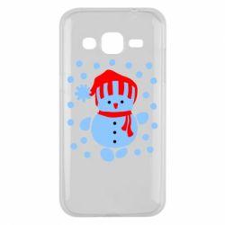 Чехол для Samsung J2 2015 Снеговик в шапке - FatLine