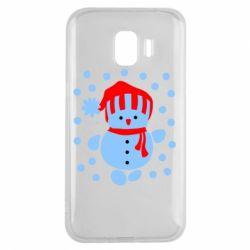Чехол для Samsung J2 2018 Снеговик в шапке - FatLine