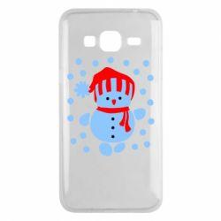 Чехол для Samsung J3 2016 Снеговик в шапке - FatLine