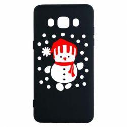 Чехол для Samsung J5 2016 Снеговик в шапке - FatLine