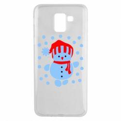 Чехол для Samsung J6 Снеговик в шапке - FatLine