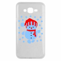 Чехол для Samsung J7 2015 Снеговик в шапке - FatLine