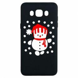 Чехол для Samsung J7 2016 Снеговик в шапке - FatLine