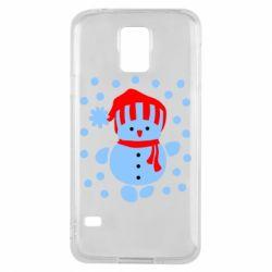 Чехол для Samsung S5 Снеговик в шапке - FatLine