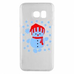 Чехол для Samsung S6 EDGE Снеговик в шапке - FatLine