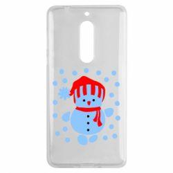 Чехол для Nokia 5 Снеговик в шапке - FatLine