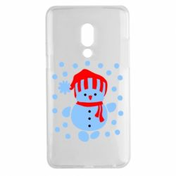 Чехол для Meizu 15 Plus Снеговик в шапке - FatLine
