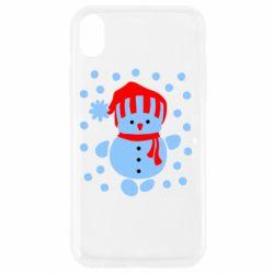 Чехол для iPhone XR Снеговик в шапке - FatLine