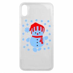 Чехол для iPhone Xs Max Снеговик в шапке - FatLine