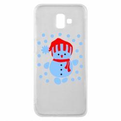 Чехол для Samsung J6 Plus 2018 Снеговик в шапке - FatLine