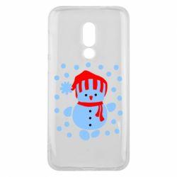 Чехол для Meizu 16 Снеговик в шапке - FatLine