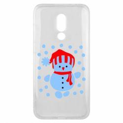 Чехол для Meizu 16x Снеговик в шапке - FatLine