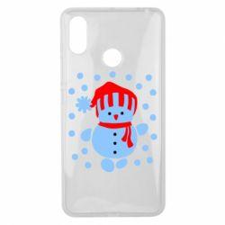 Чехол для Xiaomi Mi Max 3 Снеговик в шапке - FatLine