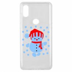 Чехол для Xiaomi Mi Mix 3 Снеговик в шапке - FatLine