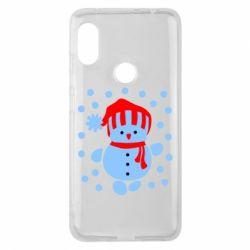 Чехол для Xiaomi Redmi Note 6 Pro Снеговик в шапке - FatLine