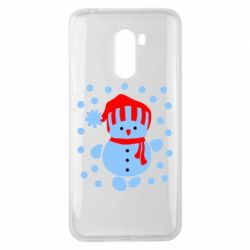 Чехол для Xiaomi Pocophone F1 Снеговик в шапке - FatLine