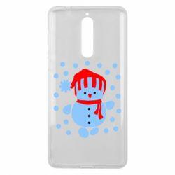 Чехол для Nokia 8 Снеговик в шапке - FatLine