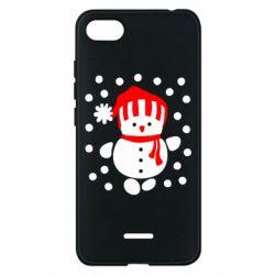 Чехол для Xiaomi Redmi 6A Снеговик в шапке - FatLine