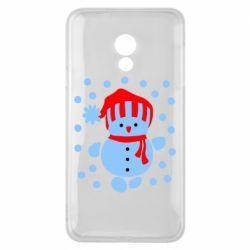 Чехол для Meizu 15 Lite Снеговик в шапке - FatLine