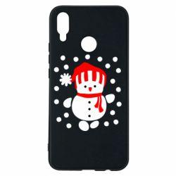 Чехол для Huawei P Smart Plus Снеговик в шапке - FatLine