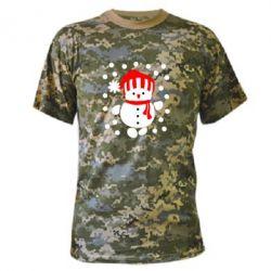Камуфляжная футболка Снеговик в шапке - FatLine