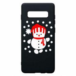Чехол для Samsung S10+ Снеговик в шапке