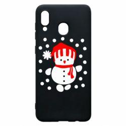 Чехол для Samsung A30 Снеговик в шапке