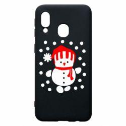 Чехол для Samsung A40 Снеговик в шапке