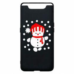 Чехол для Samsung A80 Снеговик в шапке