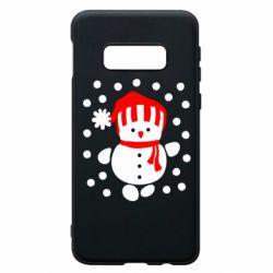 Чехол для Samsung S10e Снеговик в шапке