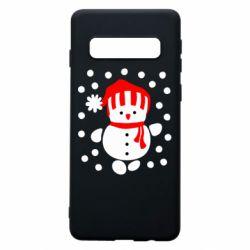 Чехол для Samsung S10 Снеговик в шапке