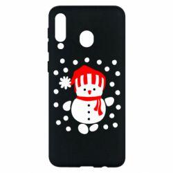 Чехол для Samsung M30 Снеговик в шапке