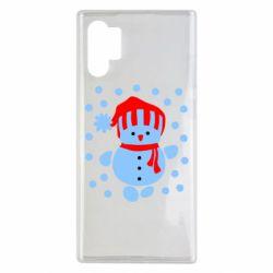 Чехол для Samsung Note 10 Plus Снеговик в шапке
