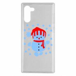 Чехол для Samsung Note 10 Снеговик в шапке