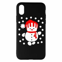 Чехол для iPhone X Снеговик в шапке - FatLine