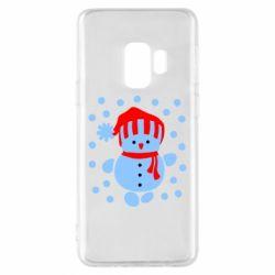 Чехол для Samsung S9 Снеговик в шапке - FatLine