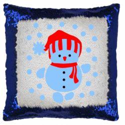Подушка-хамелеон Снеговик в шапке