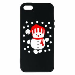 Чехол для iPhone5/5S/SE Снеговик в шапке - FatLine