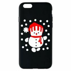 Чехол для iPhone 6/6S Снеговик в шапке - FatLine