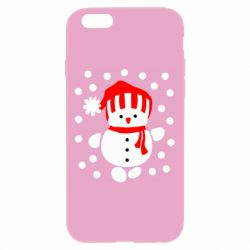 Чехол для iPhone 6 Plus/6S Plus Снеговик в шапке - FatLine