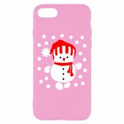 Чехол для iPhone 7 Снеговик в шапке - FatLine