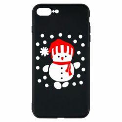 Чехол для iPhone 7 Plus Снеговик в шапке - FatLine