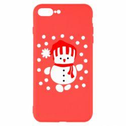 Чехол для iPhone 8 Plus Снеговик в шапке - FatLine