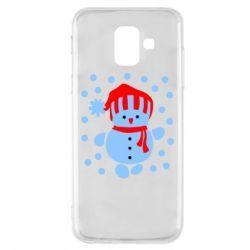 Чехол для Samsung A6 2018 Снеговик в шапке - FatLine